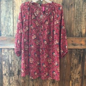 Pure Energy, 2, BOHO, Sheer Pink Floral Blouse